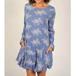 Uncle Frank Blue Embroidered Vineyard Dress